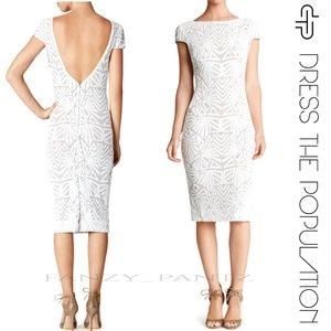 NWT DRESS THE POPULATION KARINA SEQUIN WHITE